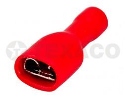 Клемма 6,6мм плоская с полной изоляцией (мама) красная
