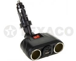 Разветвитель прикуривателя SKYWAY на 2 гнезда+2 USB 3,1A на ножке S00301036