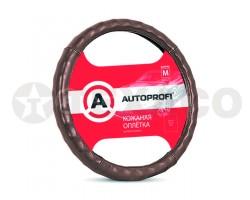 Оплетка на руль AUTOPROFI коричневая кожа AP-765 BR (M)