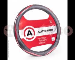 Оплетка на руль AUTOPROFI экокожа вставки под карбон AP-1413 BK/PINK M