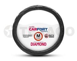 Оплетка на руль CARFORT Diamond черная прошивка, мягкая (M) CS2162