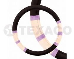 Оплетка на руль SKYWAY ECO M черная иск.мех с фиолетово-бежевыми вставками S01107007