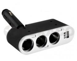 Разветвитель прикуривателя SKYWAY на 3 гнезда+ USB 500mA S02301006