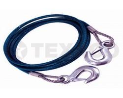 Трос буксировочный стальной 7т 2 крюка (Китай)