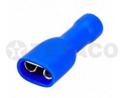 Клемма 6,6мм плоская с полной изоляцией (мама) синяя