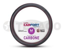 Оплетка на руль CARFORT Carbone черная, красная прошивка (M) CS7152