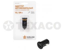 Адаптер AIRLINE 1xUSB автомобильный 12/24В 2,1А ACH-1U-12