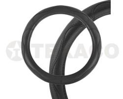 Оплетка на руль SKYWAY Art-7 M черная экокожа S01102048