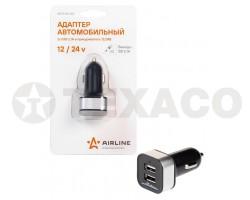 Адаптер AIRLINE 2xUSB автомобильный 12/24В 2,1А ACH-2U-04