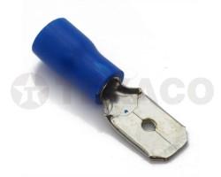Клемма 6,3мм плоская с изоляцией (папа) синяя