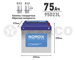 Аккумулятор NORDIX SMF95D23L 75 а/ч 650А
