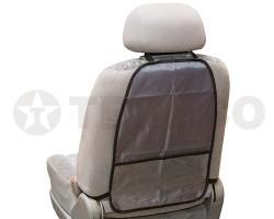 Защита спинки сиденья SKYWAY ПВХ с карманом серая
