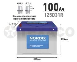 Аккумулятор NORDIX SMF125D31R 100 а/ч 830А