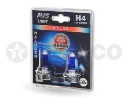 Автолампа AVS ATLAS H4 12V-60/55W 5000K (2шт) A78569S