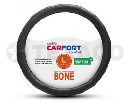 Оплетка на руль CARFORT Bone рельефные ребра черная (L) CS4163