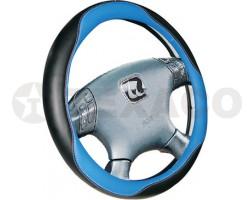 Оплетка на руль iSky экокожа с синими вставками размер S